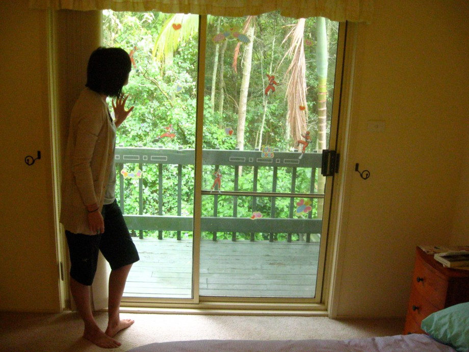 """""""Here you see that my windows look out to the deck and then out to some of what the Aussies call 'bush'."""""""