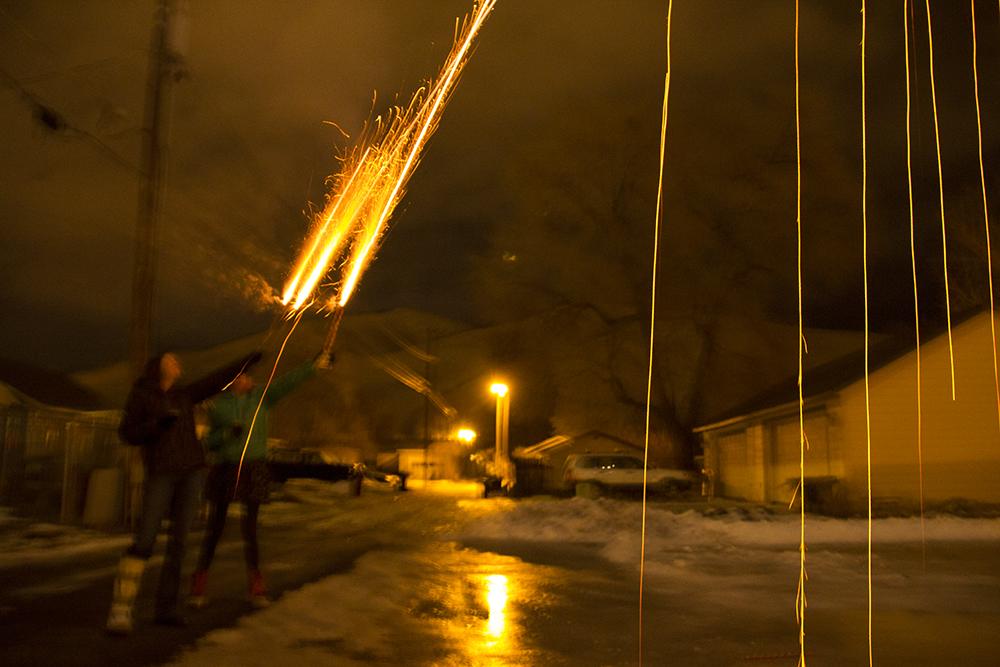 raining fireworks